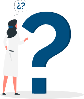 illustration of a women looking at a question mark