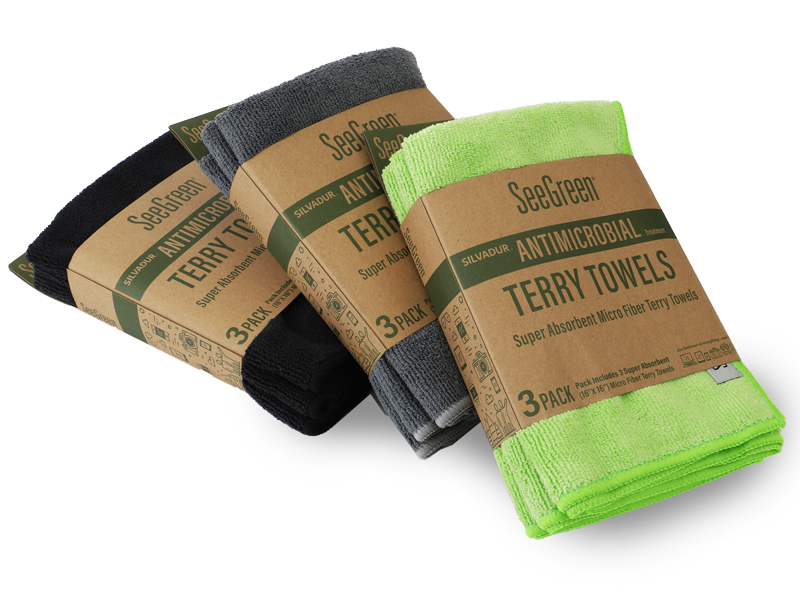 hilco vision seegreen antimicrobial terry towels 3 pack