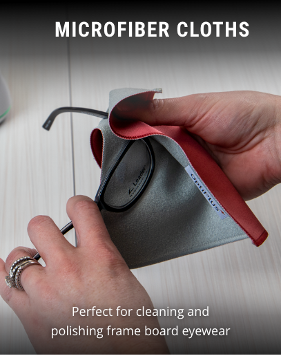 person cleaning frames with a opti plus antimicrobial microfibre cloth