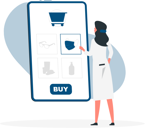 illustration of a women ordering products online