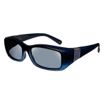Freesia - Rect Faux Leather Black Gray Lens