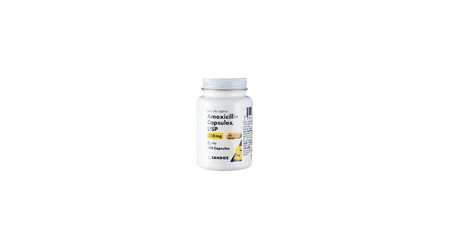 AMOXICILLIN 250 MG CAPSULES 100 CT NDC 00781-2020-01