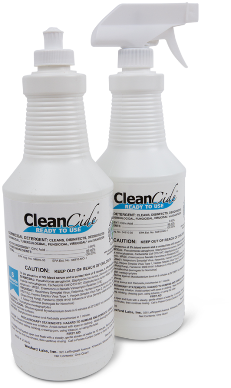 Cleancide Ready To  Use Germicidal Detergents 1 Case - 3 Bottles / 1 Sprayer