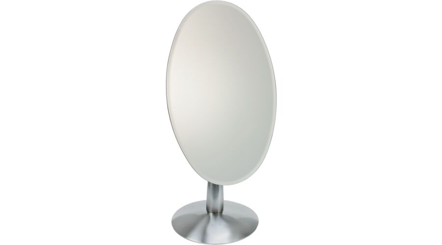 MIRROR: OVAL, BRUSHED STAINLESS STEEL, 1 PC.