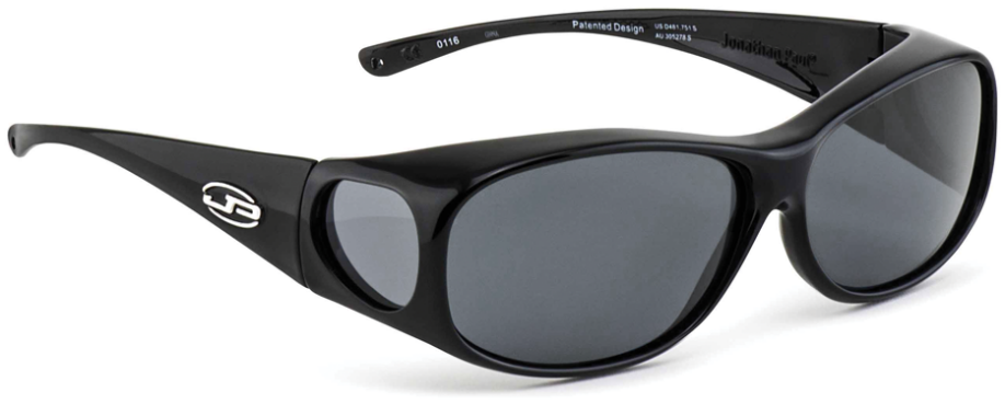 Jpe:  Classic Large Shiny Black Polarvue Grey