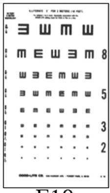 "Visual Acuity Charts - 10' Direct 9"" x 14"""