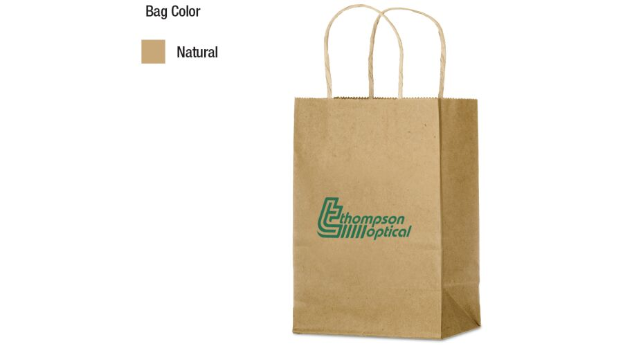 """5"""" X 8"""" KRAFT SHOPPER WITH SERRATED TOP, TWISTED PAPER HANDL"""
