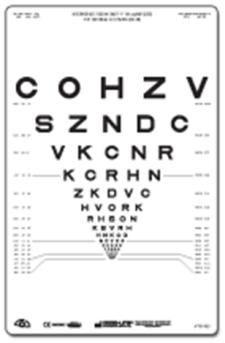 80 cm Sloan Letters Intermediate Distance Charts