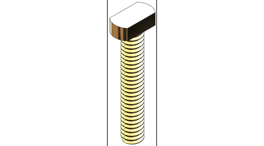 Rectangle Head Lens Screw - 8.7mm, Gold, 25 Pcs.