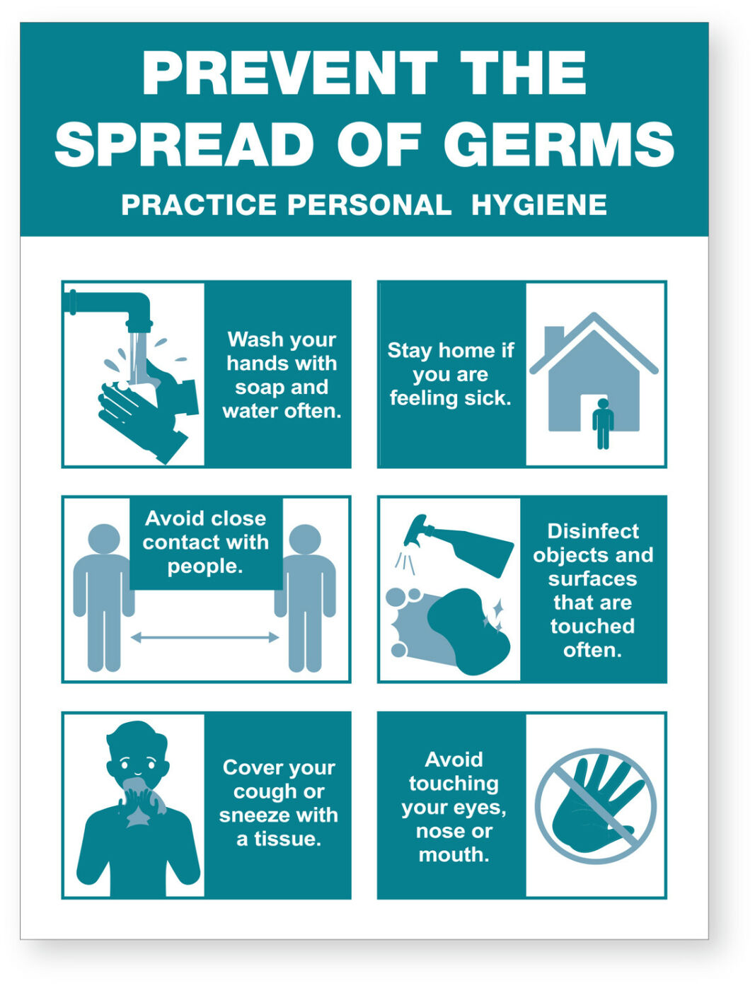Prevent Spread Of Germs Ready Made Sign Ea