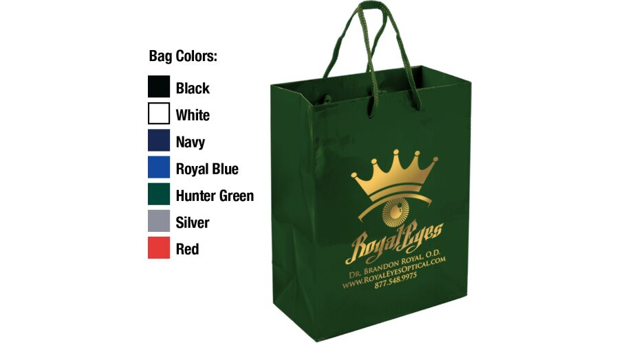 """8"""" X 10"""" EURO TOTE GLOSS LAMINATED PAPER SHOPPING TOTE WITH"""