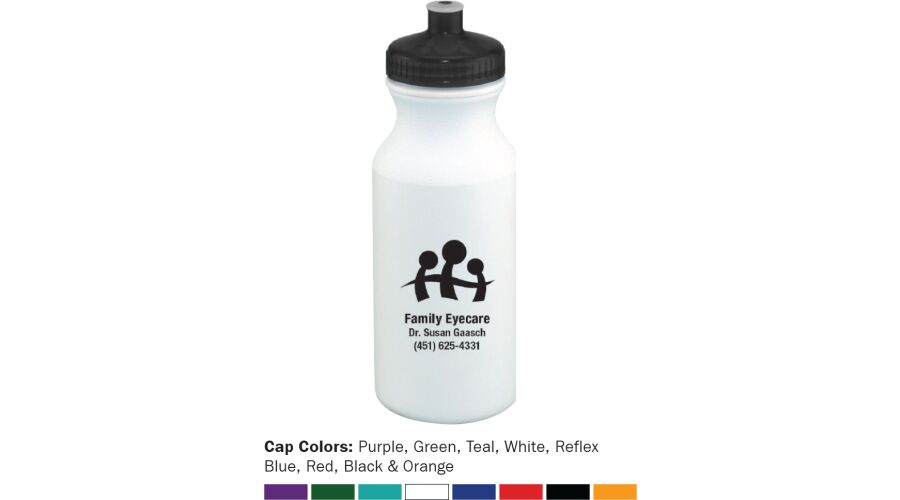 20 OZ., WHITE PLASTIC WATER BOTTLE WITH COLORED LID AND A 1