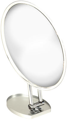 MIRROR: CHROME COUNTERTOP ADJ. ROTATING OVAL