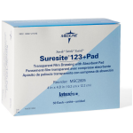 "Medline Suresite® 123+Pad Transparent Dressing 2.4"" x 2.8"", 100/box"
