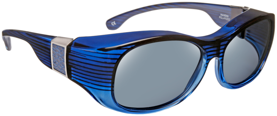 Sunset - Oval Faux Leather Blue Gray Lens