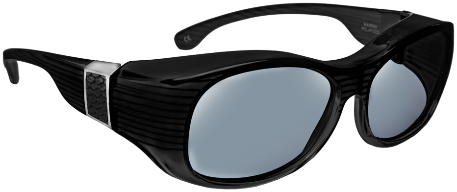 Sunset - Oval Faux Leather Black Gray Lens