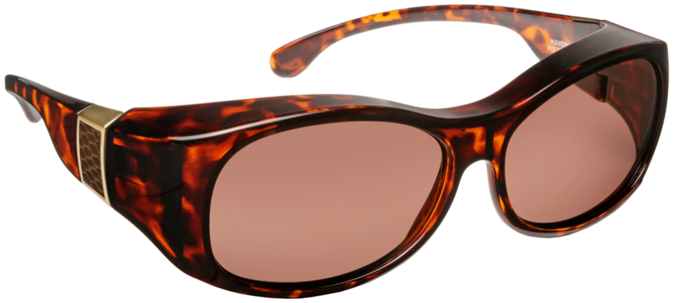 Sunset - Oval Faux Leather Shiny Tortoise Brown Lens