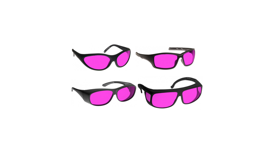 Noir Wraparound Pink Glasses  For Yellow Lasers