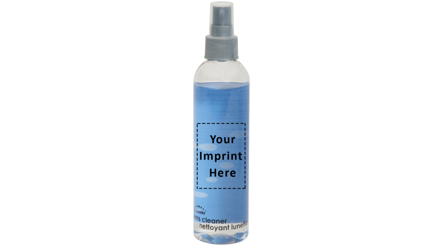 8 oz Clear Bottle, Gray Pump - Label - Imprint