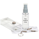 2 oz. Complete Lens Cleaner Kit with Screwdriver, Clear/grey Pump, silk screened bottle and silk screened cloth, Box 24