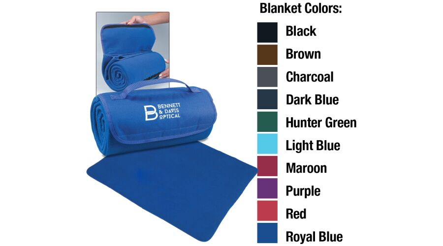 """48"""" X 53"""" POLY FLEECE ROLL UP BLANKET WITH IMPRINT"""