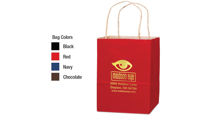 """8"""" X 10"""" MATTE SHOPPER WITH SERRATED TOP, TWISTED PAPER HAND"""