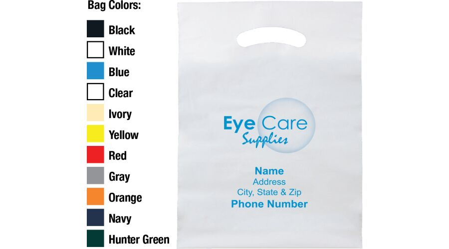 """9"""" X 13"""" STOCK EYE CARE SUPPLIES BAG WITH PERSONALIZED IMPRI"""