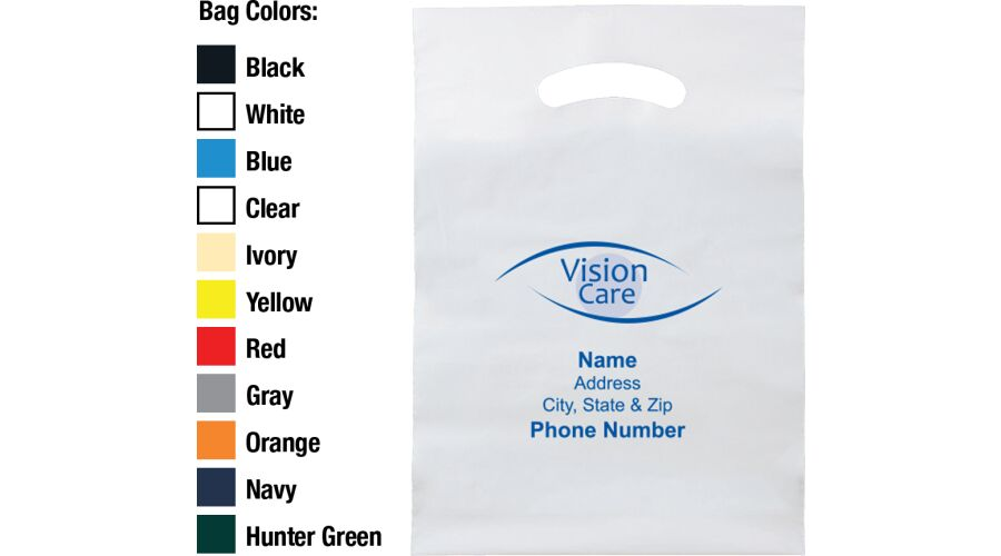 """9"""" X 13"""" VISION CARE PLASTIC BAG WITH PERSONALIZED IMPRINT"""