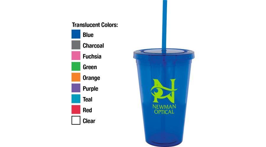 ACRYLIC, DOUBLE WALL, 16 OZ. TUMBLER WITH MATCHING TWIST TOP