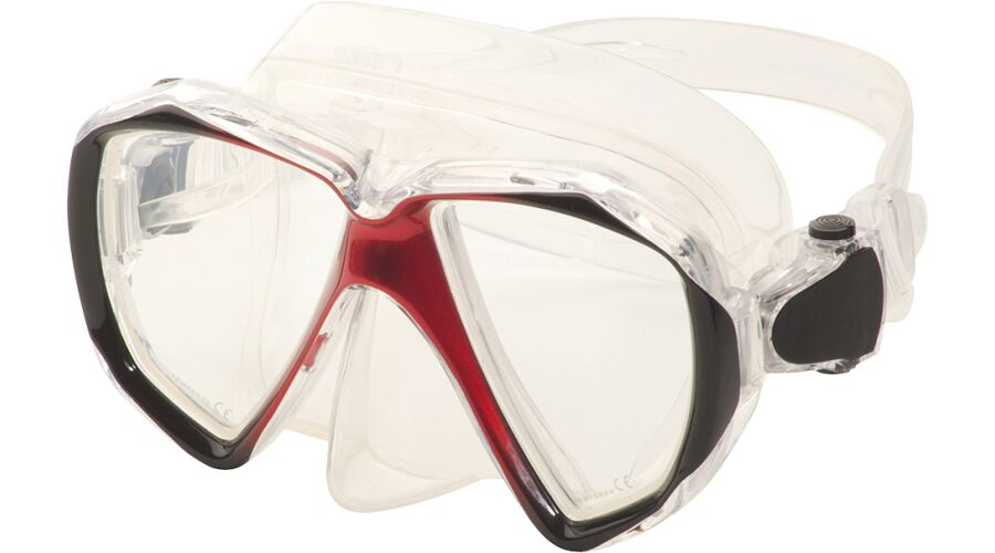 ADULT DIVE MASK SPHERICAL RX RED PLANO