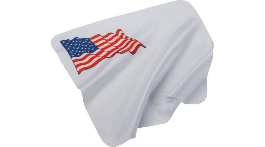 CLOTH: CL 7X7 WHITE W/FLAG, STOCK BAG/100