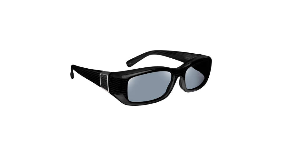 HAVEN: SIGNATURE FREESIA RECT FAUX LEATHER BLACK GRAY LENS