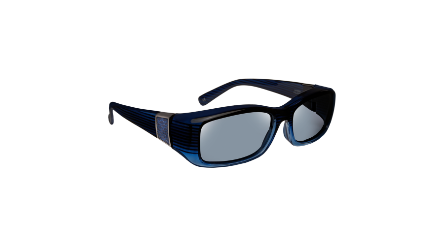 HAVEN: SIGNATURE FREESIA RECT FAUX LEATHER BLUE GRAY LENS
