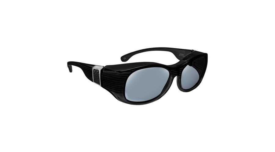 HAVEN: SIGNATURE SUNSET OVAL FAUX LEATHER BLACK GRAY LENS