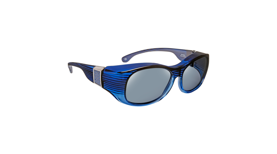 HAVEN: SIGNATURE SUNSET OVAL FAUX LEATHER BLUE GRAY LENS