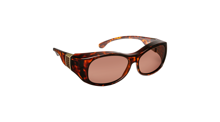 HAVEN: SIGNATURE SUNSET OVAL FAUX LEATHER TORT BRN LENS