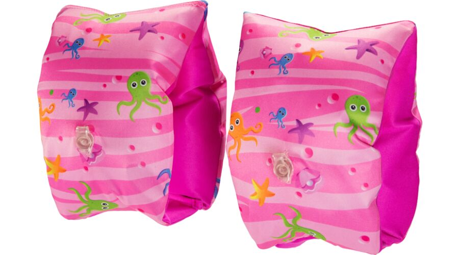 KID'S FABRIC COVERED ARM BANDS - PINK OCTOPUS