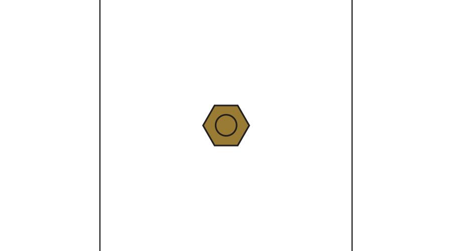 NUT:HEX,DURA TEC,SS,1.16 GLD-250