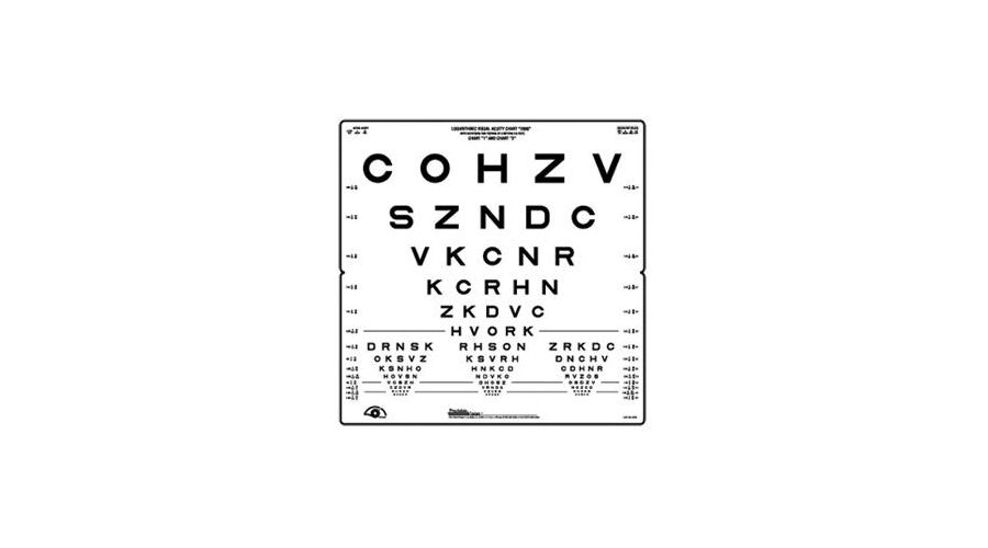 """SLOAN LETTER ACUITY CHART - FOLDING 18"""" X 18"""" 10/100 TO 1"""